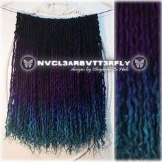 Wool Dreads, Synthetic Hair Extensions, & Accessories by Violet Ombre, Violet Hair, Purple Ombre, Synthetic Dreads, Synthetic Hair Extensions, Wool Dreads, Dreadlocks, Purple And Green Hair, Peacock Hair