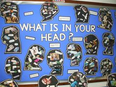 What is in your head?: A photo of a display of silhouette heads with a collage of pictures of their thinking inside their heads