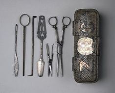 Surgical instrument case and instruments, 1650 - 1700