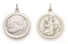 St. Christopher Sterling Silver Sports Medal (Round) - Boys Track