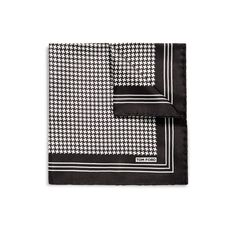 Tom Ford. GRAPHIC HOUNDSTOOTH PRINT SILK POCKET SQUARE DETAILSHTTP://WWW.TOMFORD.COM/GRAPHIC-HOUNDSTOOTH-PRINT-SILK-POCKET-SQUARE/TF312-TF856.HTML ITEM NO. TF312-TF856  GRAPHIC HOUNDSTOOTH PRINT SILK POCKET SQUARE    $165 VARIATIONS COLOR BLACK