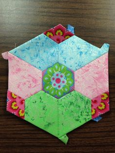 """Katja Marek's The New Hexagon - Millefiore Quilt-Along: Rosette 3: """"block 19 - Nicole, altered"""" -- completed by Tracy Pierceall, 3/13/2015"""