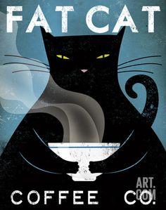 Cat Coffee Art Print by Ryan Fowler at Art.com