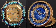 Montres bijoux joaillerie A gauche : Pendulette en or, turquoises et saphirs, diamants – Bulgari, A droite : Pendulette en or, lapis lazuli, diamants, saphirs – Van Cleef and Arpels