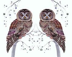 "Owls lacy birds art print ""Lacy Owl Twins"", size 10x8, SALE buy 2 get 1 free"