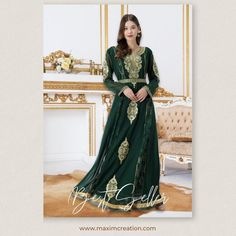 Up your fashion quotient with this bottle green Traditional Caftan, an exclusive Maxim Creation design. The dress comes along with a paisley embroidered belt that adds definition to the outfit and further enhances the look. Product no: 8452 Kaftan Abaya, Caftan Dress, Paisley Embroidery, Belt, Traditional, Formal Dresses, Bottle, Lady, Womens Fashion