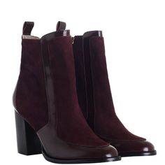 Contrast Leather Mid Boot