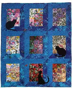 Make a Watercolor Quilt Filled With Kitties and Butterflies: Cat Quilt Pattern