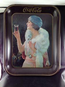 Vintage Coke Coca Cola Tray Metal White Fox Stole Flapper Woman Blue Hat