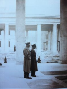 Extremely cool photo of Adolf Hitler and Joseph Goebbels, near the Propylaen in Munich, May, 1939. (via putschgirl)