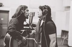 George Harrison and Paul McCartney recording Here Comes The Sun, 1969.