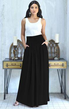 ZIYA – High Waist Long Flowy with Pockets Maxi Skirt - Christmas Deesserts Black Maxi Skirt Outfit, Diy Maxi Skirt, Casual Skirt Outfits, Long Maxi Skirts, Flowy Skirt, Long High Waisted Skirts, Maxi Dresses, Midi Skirts, Casual Skirts