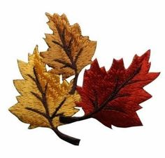 ID #1413 Leaves Leaf Fall Autumn Embroidered Iron On Applique Patch