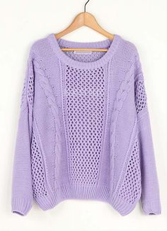 Purple Hollow Bat Sleeve Loose Sweater