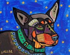 Australian Kelpie Dog Art PRINT Poster of Painting Modern Abstract Colorful Dogs blue, green, orange