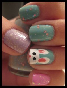 Easter Nail Bunny Face