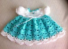 MODÈLE de Crochet nouveau-né bébé robe JANICE