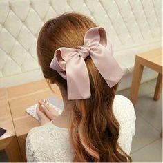 6 Pcs Large Big Huge Oversize Soft Silky Hair Bows Clip Lolita Party Girl Women French Barrette Hair Clips by Mylot >>> Visit the image link for more details. Cute Girls Hairstyles, Casual Hairstyles, Pretty Hairstyles, Ribbon Hair Bows, Bow Hair Clips, Hair Barrettes, Bow Hairband, Pink Ribbons, Bow Clip