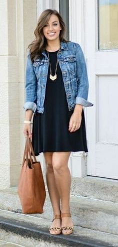 Swing dress and denim jacket, cute and casual. Can be dressed up or dressed down. Swing dress and denim jacket, cute and casual. Can be dressed up or dressed down. How To Wear Denim Jacket, Dress With Jean Jacket, Jean Jacket Outfits, Jacket Dress, Old Navy Jean Jacket, Jacket Jeans, Navy Jacket, Navy Dress Outfits, Casual Outfits
