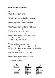 One Day a Taniwha - with guitar chords Guitar Chords For Songs, Ukulele Chords, Teaching Activities, Teaching Music, Maori Songs, Waitangi Day, Single Parent Families, Becoming A Teacher, Kids Songs