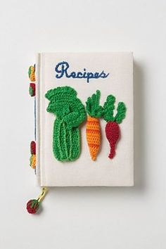 serve & tell crocheted recipe journal - imagine this as an embroidery recipe book with the recipes and such all embroidered Crochet Food, Knit Crochet, Free Crochet, Food Journal, Recipe Journal, Textiles, Book Design, Lana, Crochet Projects