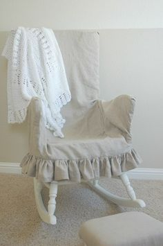 Adding comfort and warmth to a wooden rocking chair