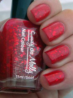 "Red jelly nail polish - ""A beautiful mistake"" indie custom glitter nail polish. $10.00, via Etsy."