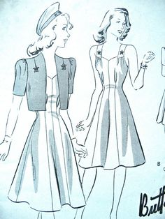 1940s Vintage Butterick 9370 Sewing Pattern Misses Jacket  Dress Sun-Back Frock Button-on Bolero Bust 30 inches  Waist 26  Hip 32    Pattern is cut and