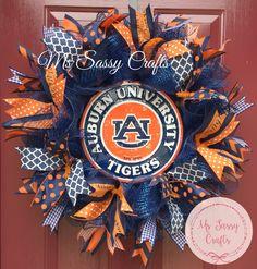 Auburn University - Auburn Tigers - Auburn Wreath - Auburn Deco Mesh Wreath - Auburn Ribbon by MsSassyCrafts on Etsy https://www.etsy.com/listing/235935036/auburn-university-auburn-tigers-auburn