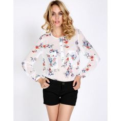 New Fashion Womens Chiffon Floral Print T-Shirt Blouse Long Sleeve Tops Vintage