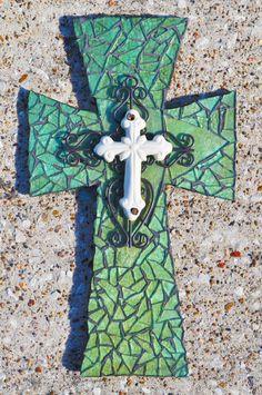 ClearBlue Mosaic Cross  Medium Cross by katherineyork on Etsy, $45.00