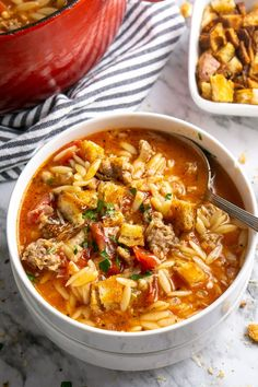 Italian Sausage Orzo Soup for Instant Pot or Stove Italian soup in 30 minutes for Instant Pot or stove! Comfort food with pork sausage, everyday vegetables, whole grain orzo, and chicken broth Beef Recipes, Soup Recipes, Dinner Recipes, Cooking Recipes, Healthy Recipes, Recipies, Italian Sausage Soup, Italian Soup, Orzo Pasta Recipes