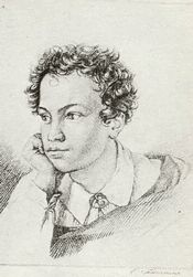 "The Russian poet A.S. Pushkin. Engraving by E. Gejtman 1822. He was the great grandson of Major-General Abram Petrovich Gannibal, also Hannibal or Ganibal or Ibrahim Hannibal or Abram Petrov 1696 – 1781. He was an African kidnapped and brought to Russia. He became major-general, military engineer, governor of Reval and nobleman of the Russian Empire. Pushkin wrote an unfinished novel about him: ""Peter the Great's Negro""."