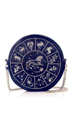 Presenting this seasons new **M'O Exclusive** collaboration with **Preciously Paris** the **Horoscope Collection**. This Gemini round clutch is rendered in velvet and features an intricate Zodiac sign design and long over the shoulder chain strap. Louis Vuitton Bags, Louis Vuitton Monogram, Lila Outfits, Jewelry Accessories, Unique Jewelry, Lesage, Unique Bags, Cute Bags, Stars And Moon