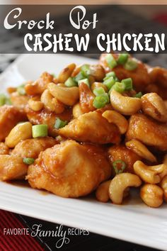 Recipe for Crock Pot Cashew Chicken - This Cashew Chicken is better than most Cashew Chicken dishes I have had at Chinese Restaurants! You can have this ready and in the crock pot faster than you can get your kids in the car and drive to the nearest Chinese place for take-out. My family absolutely LOVED this recipe!
