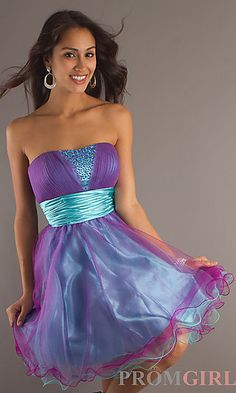 Short Strapless Party Dress  at PromGirl.com