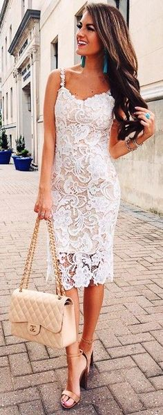 #fall #trending #outfits | Midi White Lace Dress