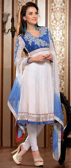 #Blue and Light Peach #Faux Chiffon #Churidar Kameez
