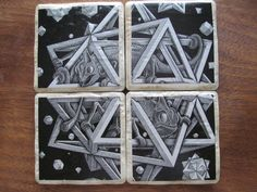 MC Escher Star Stone Coasters by PixieMoonCreations on Etsy, $21.00