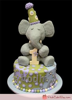 Cute 1st Bday cake!  Children's First Birthday Elephant Cake  http://blog.pinkcakebox.com/bodhis-1st-birthday-elephant-cake-2012-03-06.htm