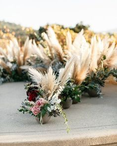 Pampas grass florals...perfect for a beautiful ceremony!! Use feathery pampas grass down the aisle, as a photo backdrop, or as table centerpieces.  #tablesetting #weddinginspo #weddingreception #receptionideas #bohowedding #weddingideas #weddingdecor #weddingbouquet #bridetobe #bridalbouquet #weddingdecor #weddingseason #weddingparty #weddinginspiration #pampas #pampasgrass #bohobride #bohodecor Wedding Trends, Trendy Wedding, Boho Wedding, Floral Wedding, Wedding Colors, Wedding Styles, Wedding Ceremony, Wedding Flowers, Wedding Ideas