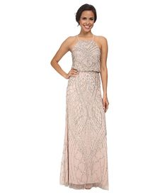 62167734bf Adrianna papell halter fully beaded gown shell
