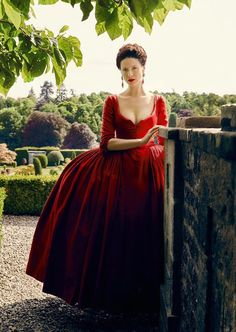 The famous red gown Claire wears to the French Court. OUTLANDER, Season 2.