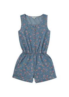 Girls Candy Couture Denim Floral Playsuit