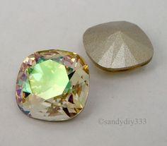 2x SWAROVSKI 4470 Luminous Green 12mm SQUARE CABOCHON FANCY STONE CRYSTAL (Foil) #Swarovski #CrystalStone