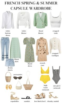 Look Parisian Chic this spring with this French style spring and summer capsule wardrobe! Endless outfit ideas wait you. minimalist fashion outfits parisian chic How to Create a French Capsule Wardrobe for Spring & Summer - MY CHIC OBSESSION Capsule Outfits, Fashion Capsule, Mode Outfits, Fashion Outfits, Chic Outfits, Womens Fashion, Fashion Ideas, Fashion Tips, Spring Summer Fashion