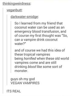 vegan vampires blood transfusion coconut water