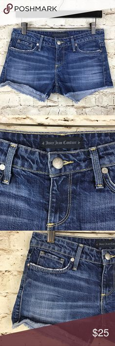 """Juicy Jean Couture Denim Mini Shorts Distressed Perfect Jean Shorts by Juicy Couture. Mid rise, size 25. Distressed. Daisy dukes. 100% Cotton. Waist - 14 1/2"""", inseam - 3"""", rise - 7 1/2"""", length - 9 1/2"""". Very good used condition, no flaws or signs of wear. Juicy Couture Shorts Jean Shorts"""