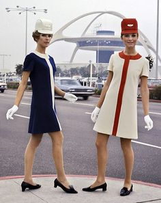 United Airlines flight attendants in the late 1960s, wearing outfits designed by celebrity designer Jean Louis.