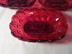 L G Wright Glass Moon And Stars Ruby Red Footed Soap Dish Berry Bowls Holiday Candy Dish Holiday Table Decor Vintage Glassware 3DsVintage by 3DsVintage on Etsy